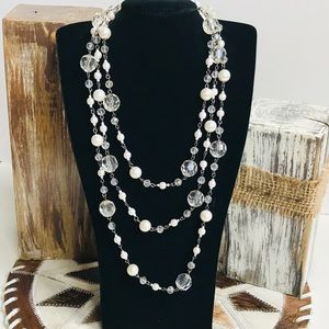 Beautiful Clear White Pearl Beaded Wrap Necklace